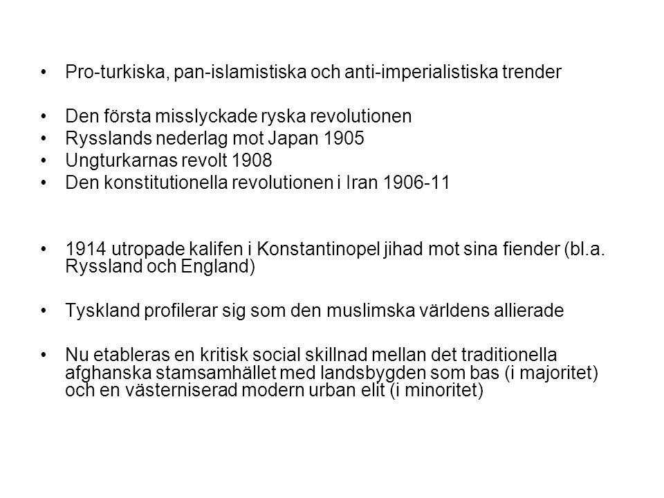 Pro-turkiska, pan-islamistiska och anti-imperialistiska trender Den första misslyckade ryska revolutionen Rysslands nederlag mot Japan 1905 Ungturkarnas revolt 1908 Den konstitutionella revolutionen i Iran 1906-11 1914 utropade kalifen i Konstantinopel jihad mot sina fiender (bl.a.
