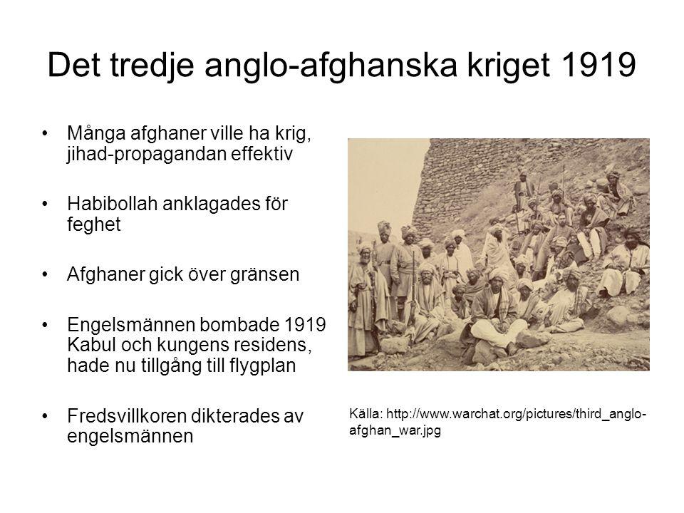 Det tredje anglo-afghanska kriget 1919 Många afghaner ville ha krig, jihad-propagandan effektiv Habibollah anklagades för feghet Afghaner gick över gr