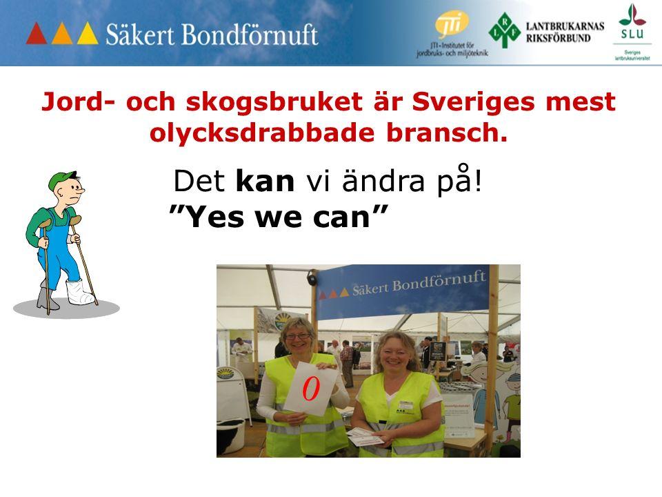 """Jord- och skogsbruket är Sveriges mest olycksdrabbade bransch. Det kan vi ändra på! """"Yes we can"""" 0"""