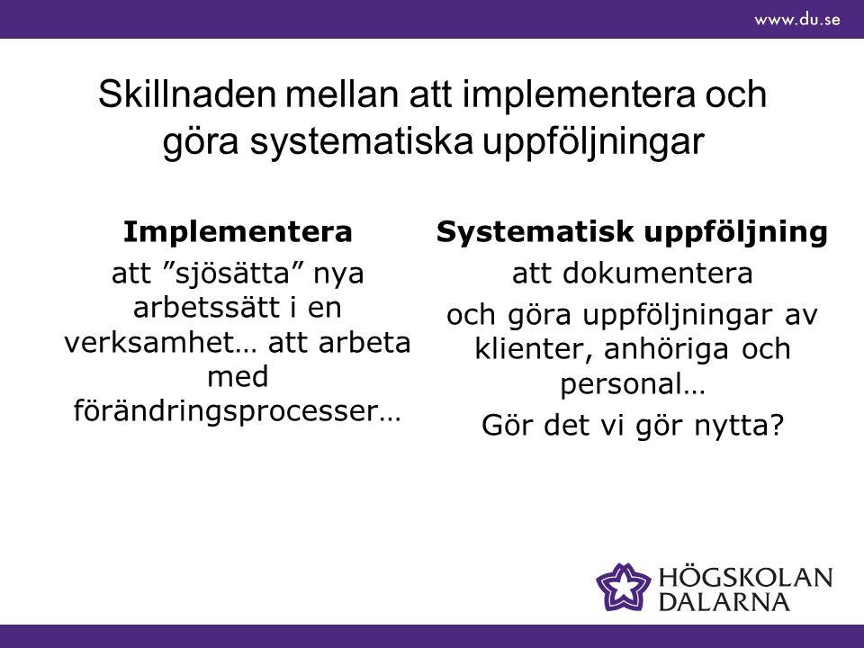 Skillnaden mellan att implementera och göra systematiska uppföljningar Implementera att sjösätta nya arbetssätt i en verksamhet… att arbeta med förändringsprocesser… Systematisk uppföljning att dokumentera och göra uppföljningar av klienter, anhöriga och personal… Gör det vi gör nytta?