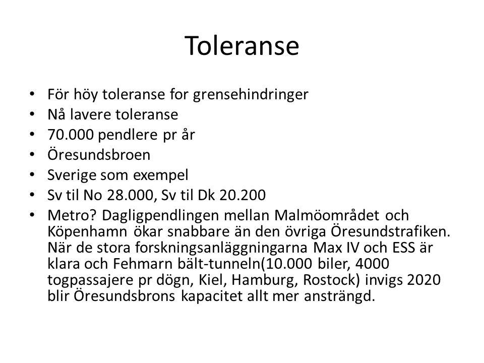 Toleranse För höy toleranse for grensehindringer Nå lavere toleranse 70.000 pendlere pr år Öresundsbroen Sverige som exempel Sv til No 28.000, Sv til Dk 20.200 Metro.