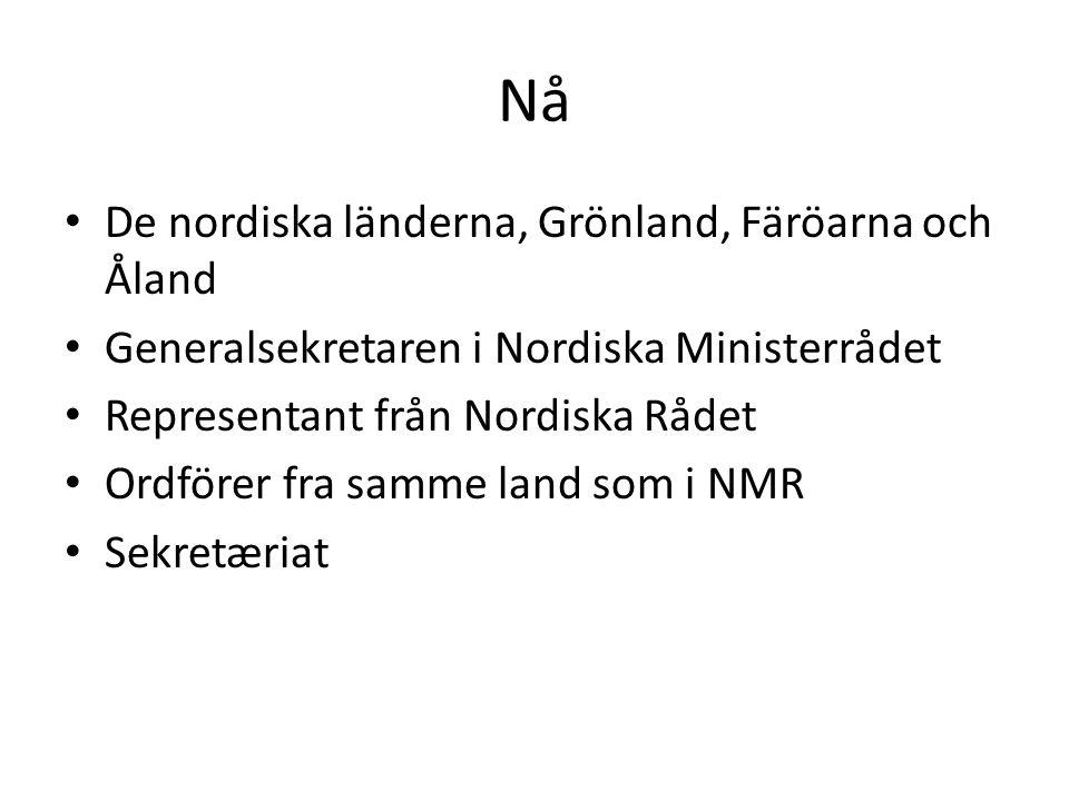 Nå De nordiska länderna, Grönland, Färöarna och Åland Generalsekretaren i Nordiska Ministerrådet Representant från Nordiska Rådet Ordförer fra samme land som i NMR Sekretæriat