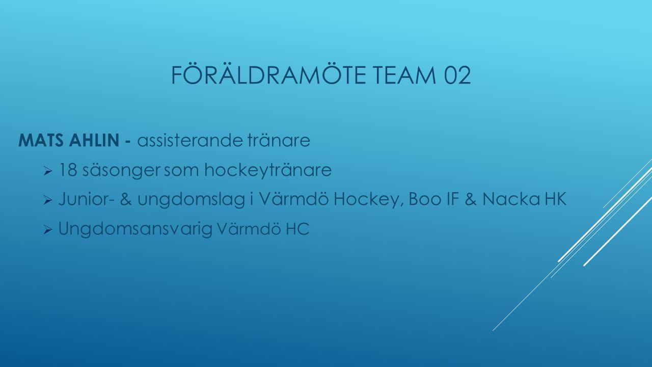 FÖRÄLDRAMÖTE TEAM 02 MATS AHLIN - assisterande tränare  18 säsonger som hockeytränare  Junior- & ungdomslag i Värmdö Hockey, Boo IF & Nacka HK  Ungdomsansvarig Värmdö HC