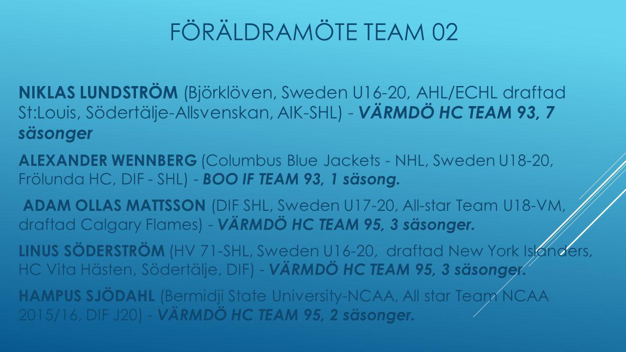 FÖRÄLDRAMÖTE TEAM 02 NIKLAS LUNDSTRÖM (Björklöven, Sweden U16-20, AHL/ECHL draftad St:Louis, Södertälje-Allsvenskan, AIK-SHL) - VÄRMDÖ HC TEAM 93, 7 säsonger ALEXANDER WENNBERG (Columbus Blue Jackets - NHL, Sweden U18-20, Frölunda HC, DIF - SHL) - BOO IF TEAM 93, 1 säsong.