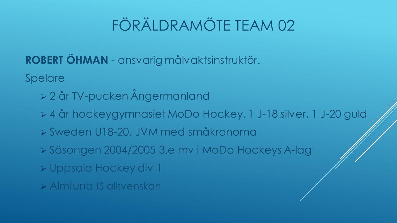 FÖRÄLDRAMÖTE TEAM 02 ROBERT ÖHMAN - ansvarig målvaktsinstruktör.