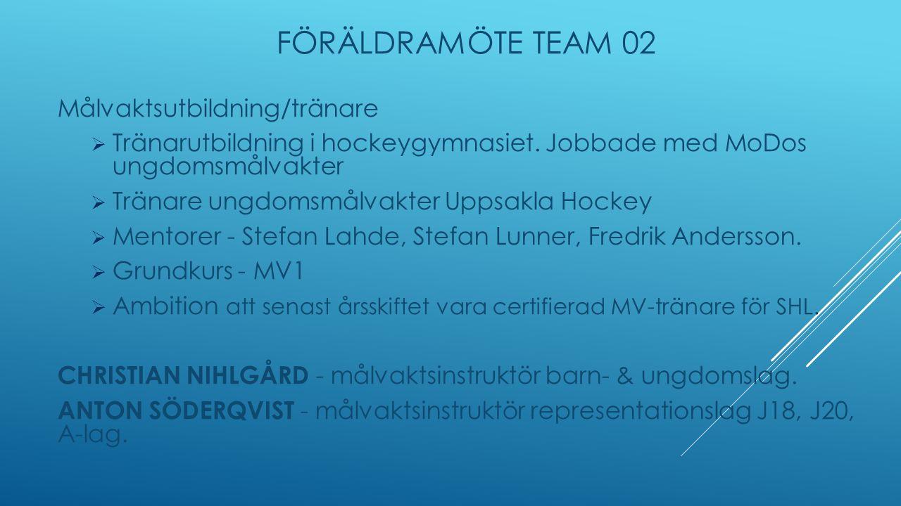 FÖRÄLDRAMÖTE TEAM 02 Målvaktsutbildning/tränare  Tränarutbildning i hockeygymnasiet.