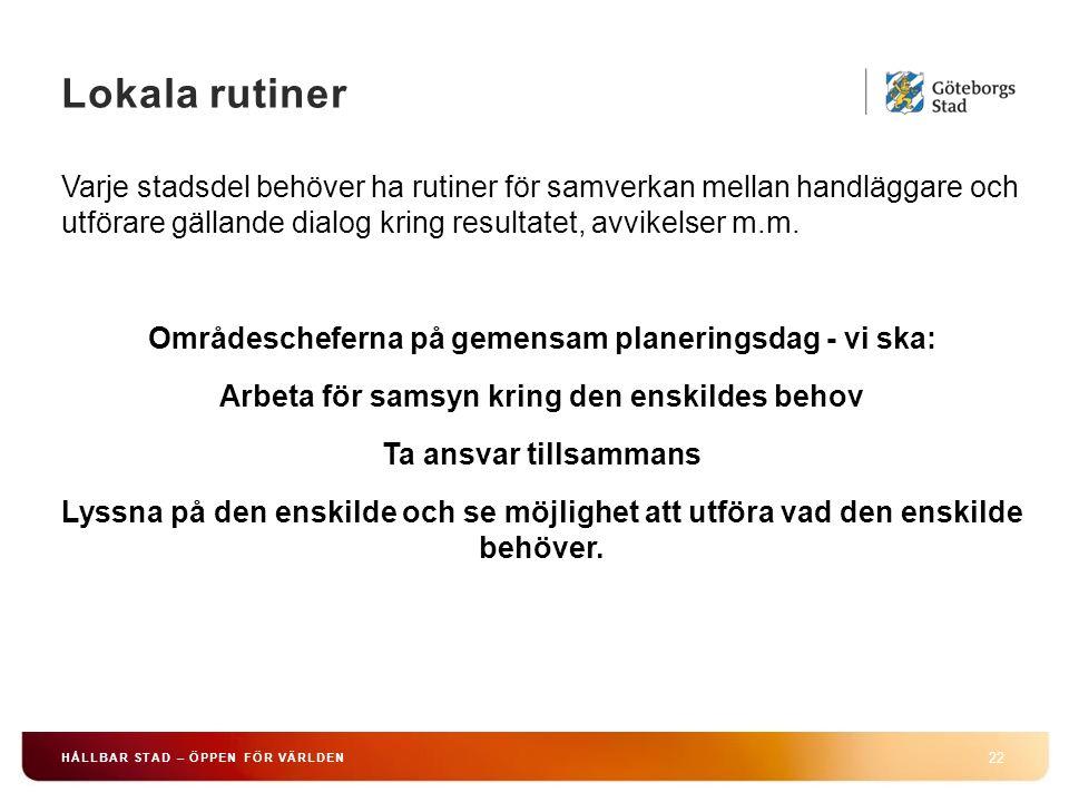 Lokala rutiner 22 HÅLLBAR STAD – ÖPPEN FÖR VÄRLDEN Varje stadsdel behöver ha rutiner för samverkan mellan handläggare och utförare gällande dialog kring resultatet, avvikelser m.m.