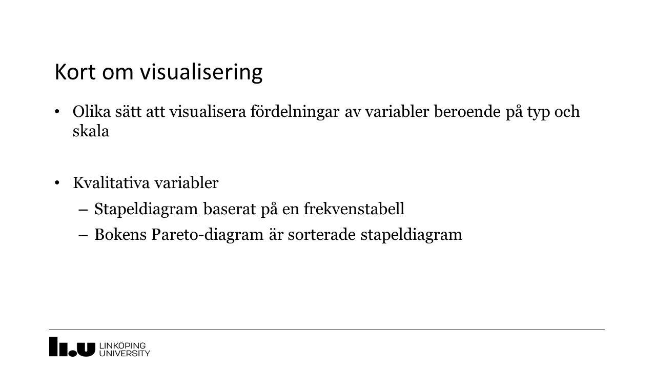 Kort om visualisering Olika sätt att visualisera fördelningar av variabler beroende på typ och skala Kvalitativa variabler – Stapeldiagram baserat på en frekvenstabell – Bokens Pareto-diagram är sorterade stapeldiagram