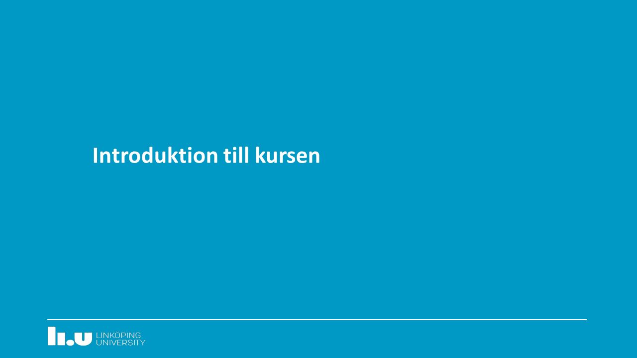 Introduktion till kursen