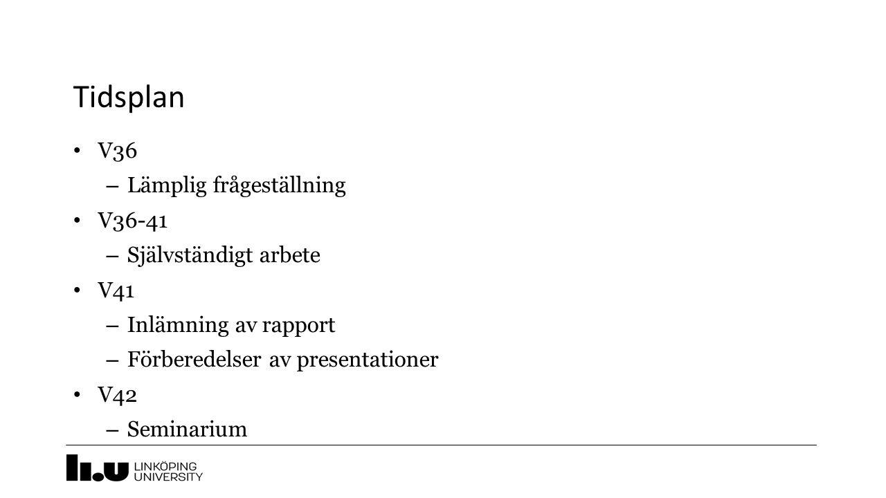 Tidsplan V36 – Lämplig frågeställning V36-41 – Självständigt arbete V41 – Inlämning av rapport – Förberedelser av presentationer V42 – Seminarium