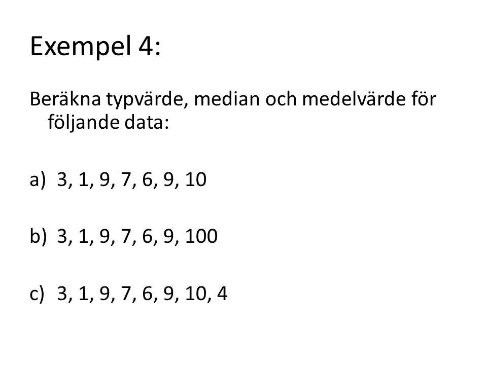 Exempel 4: Beräkna typvärde, median och medelvärde för följande data: a)3, 1, 9, 7, 6, 9, 10 b)3, 1, 9, 7, 6, 9, 100 c)3, 1, 9, 7, 6, 9, 10, 4