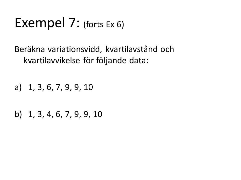 Exempel 7: (forts Ex 6) Beräkna variationsvidd, kvartilavstånd och kvartilavvikelse för följande data: a)1, 3, 6, 7, 9, 9, 10 b)1, 3, 4, 6, 7, 9, 9, 10