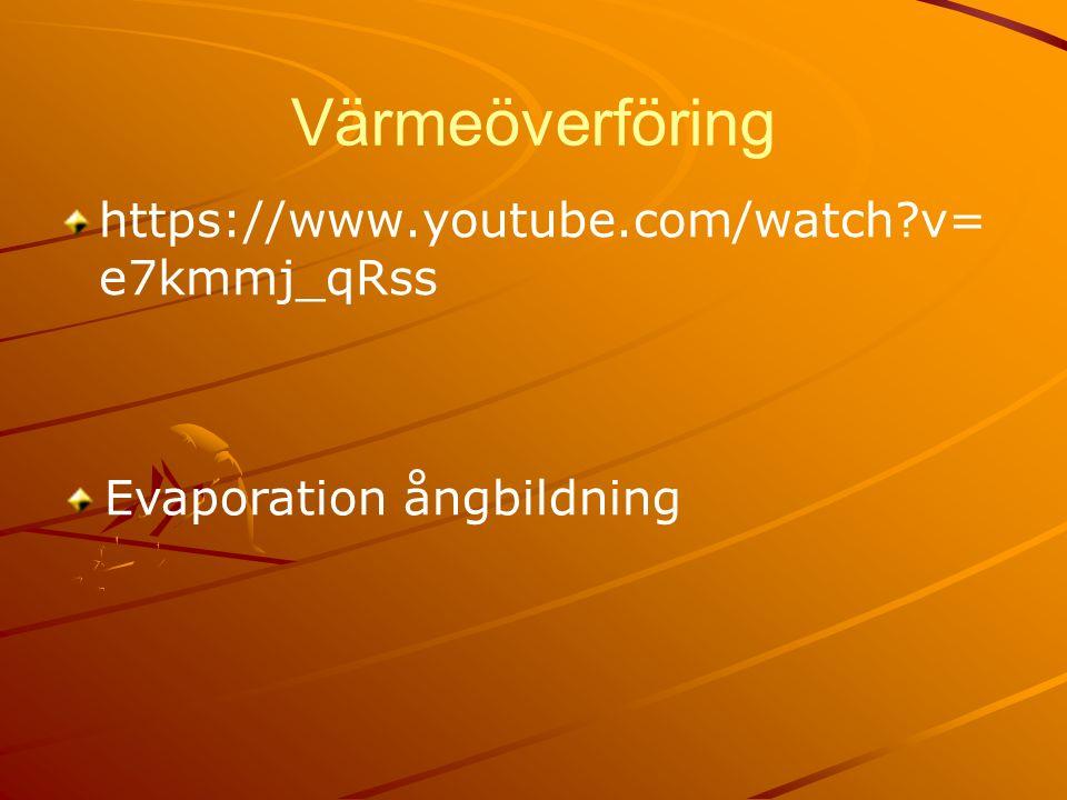 Värmeöverföring https://www.youtube.com/watch v= e7kmmj_qRss Evaporation ångbildning