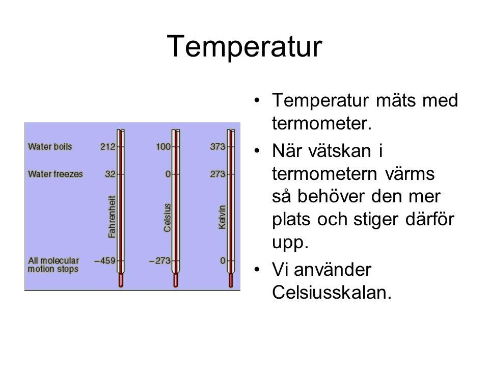 Temperatur Temperatur mäts med termometer.