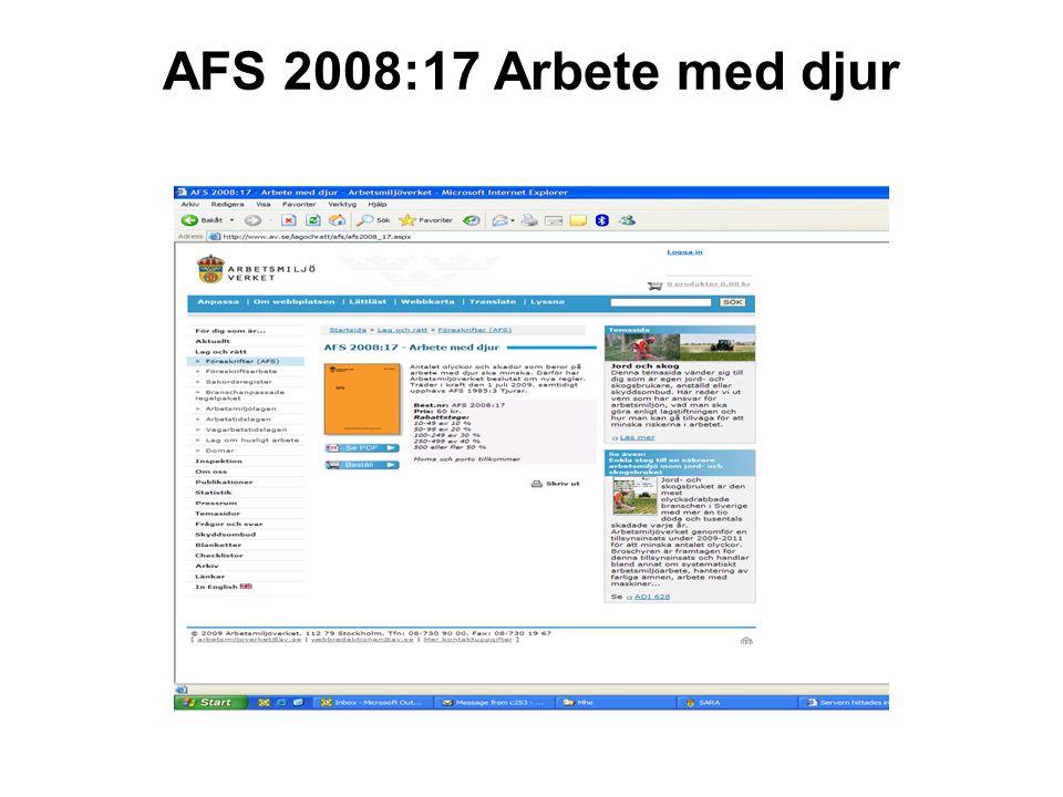 AFS 2008:17 Arbete med djur