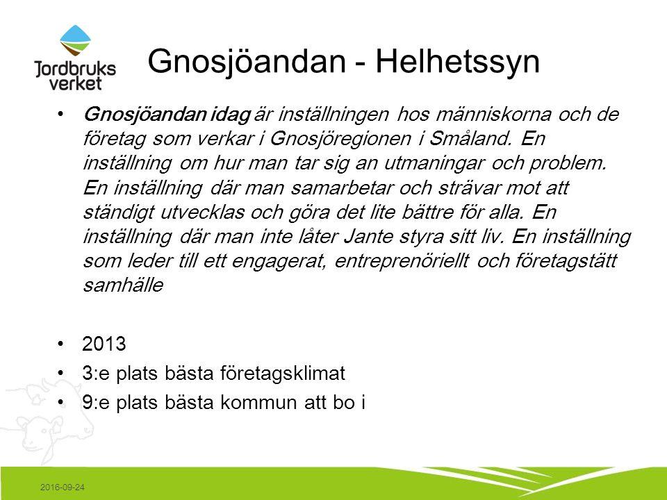 Gnosjöandan - Helhetssyn Gnosjöandan idag är inställningen hos människorna och de företag som verkar i Gnosjöregionen i Småland.