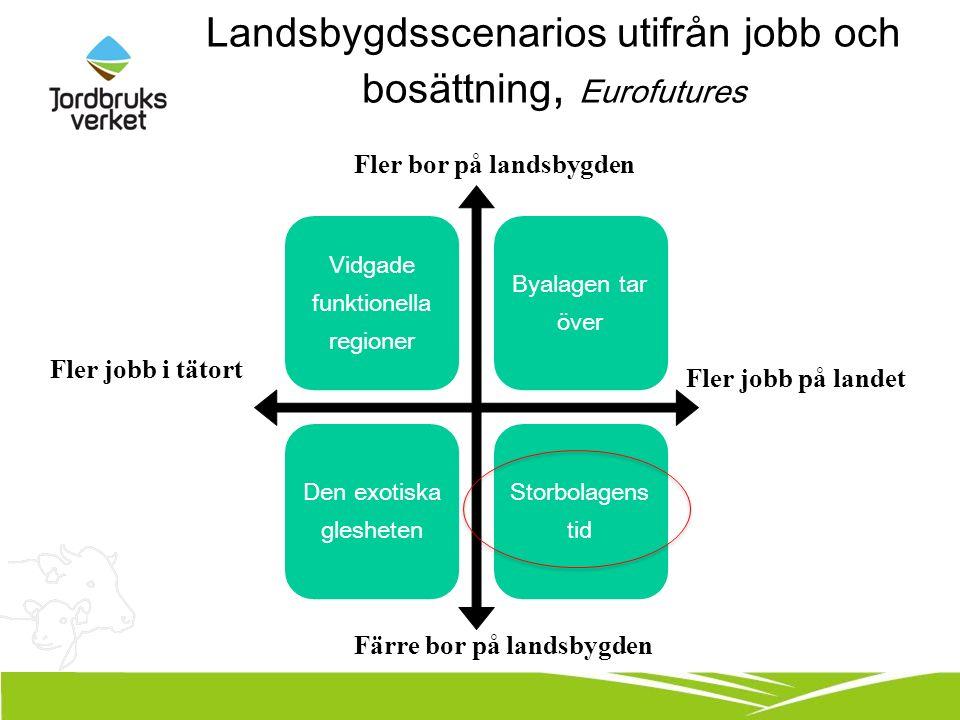 Landsbygdsscenarios utifrån jobb och bosättning, Eurofutures Fler jobb på landet Fler jobb i tätort Fler bor på landsbygden Färre bor på landsbygden