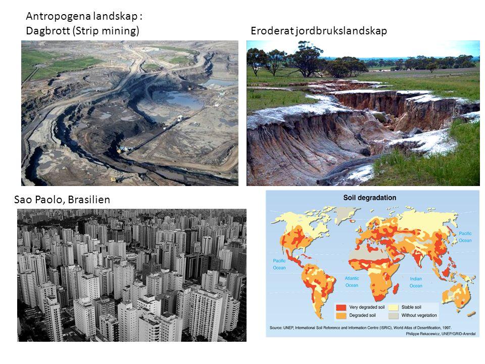 Antropogena landskap : Dagbrott (Strip mining) Eroderat jordbrukslandskap Sao Paolo, Brasilien