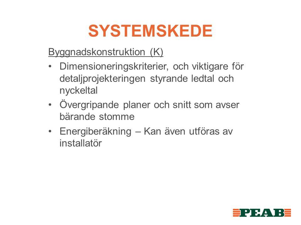 SYSTEMSKEDE Byggnadskonstruktion (K) Dimensioneringskriterier, och viktigare för detaljprojekteringen styrande ledtal och nyckeltal Övergripande planer och snitt som avser bärande stomme Energiberäkning – Kan även utföras av installatör