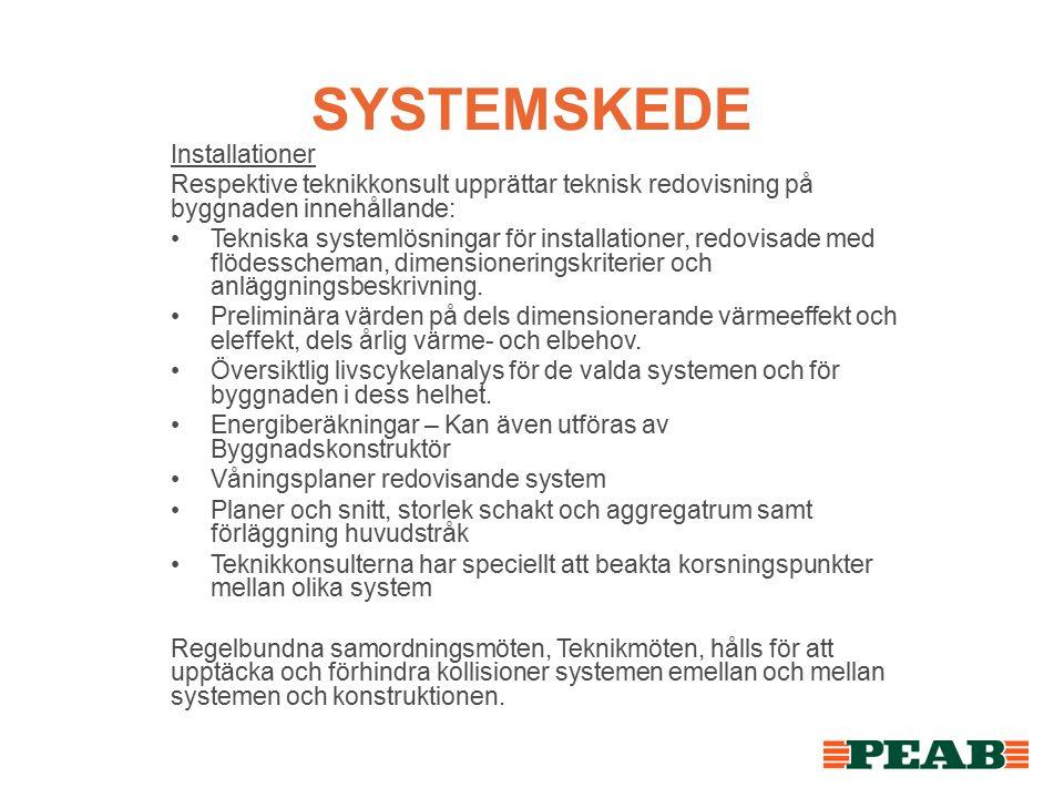 SYSTEMSKEDE Installationer Respektive teknikkonsult upprättar teknisk redovisning på byggnaden innehållande: Tekniska systemlösningar för installationer, redovisade med flödesscheman, dimensioneringskriterier och anläggningsbeskrivning.