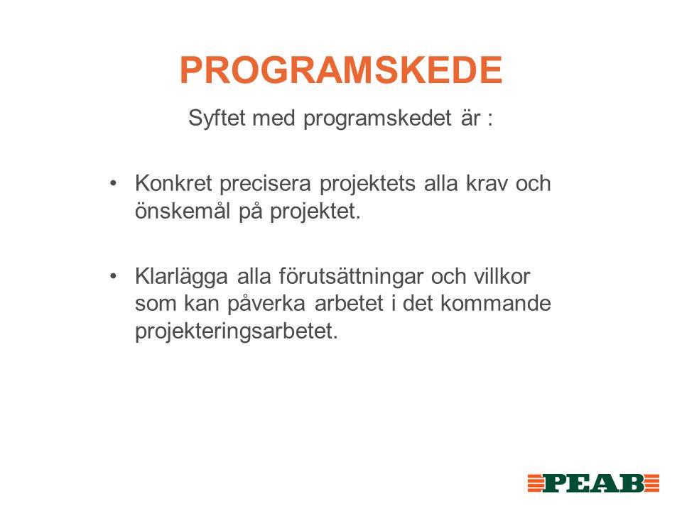 PROGRAMSKEDE Syftet med programskedet är : Konkret precisera projektets alla krav och önskemål på projektet.