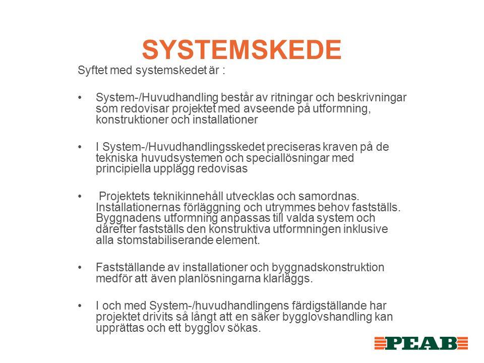 SYSTEMSKEDE Syftet med systemskedet är : System-/Huvudhandling består av ritningar och beskrivningar som redovisar projektet med avseende på utformning, konstruktioner och installationer I System-/Huvudhandlingsskedet preciseras kraven på de tekniska huvudsystemen och speciallösningar med principiella upplägg redovisas Projektets teknikinnehåll utvecklas och samordnas.