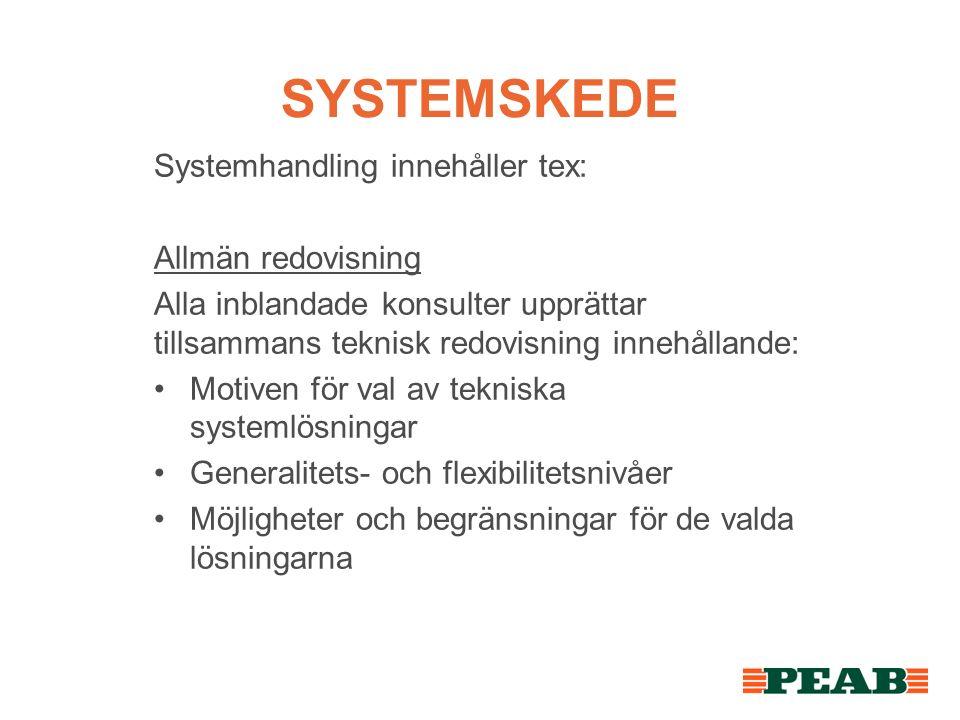 SYSTEMSKEDE Systemhandling innehåller tex: Allmän redovisning Alla inblandade konsulter upprättar tillsammans teknisk redovisning innehållande: Motiven för val av tekniska systemlösningar Generalitets- och flexibilitetsnivåer Möjligheter och begränsningar för de valda lösningarna