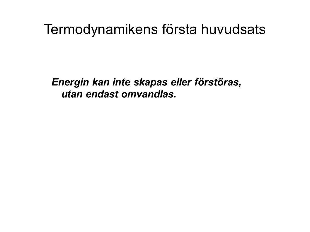 Termodynamikens första huvudsats Energin kan inte skapas eller förstöras, utan endast omvandlas.