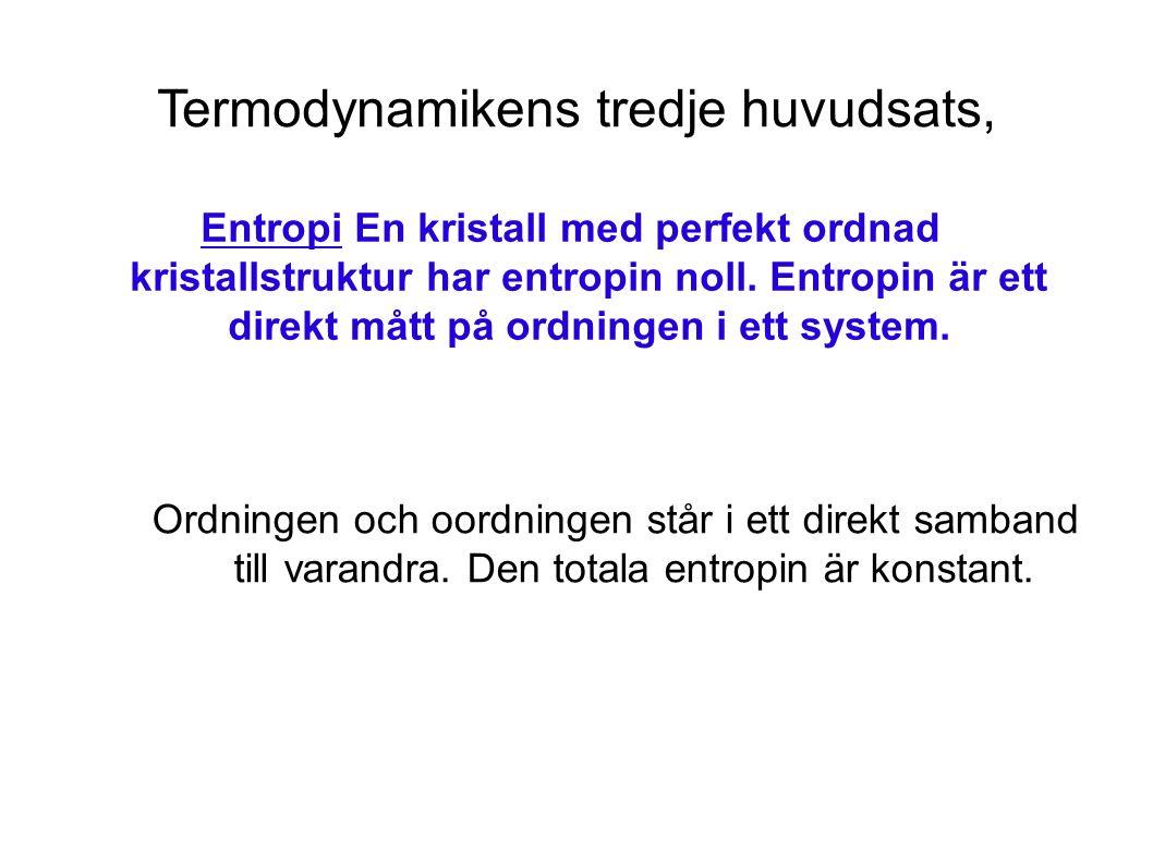Termodynamikens tredje huvudsats, Entropi En kristall med perfekt ordnad kristallstruktur har entropin noll.