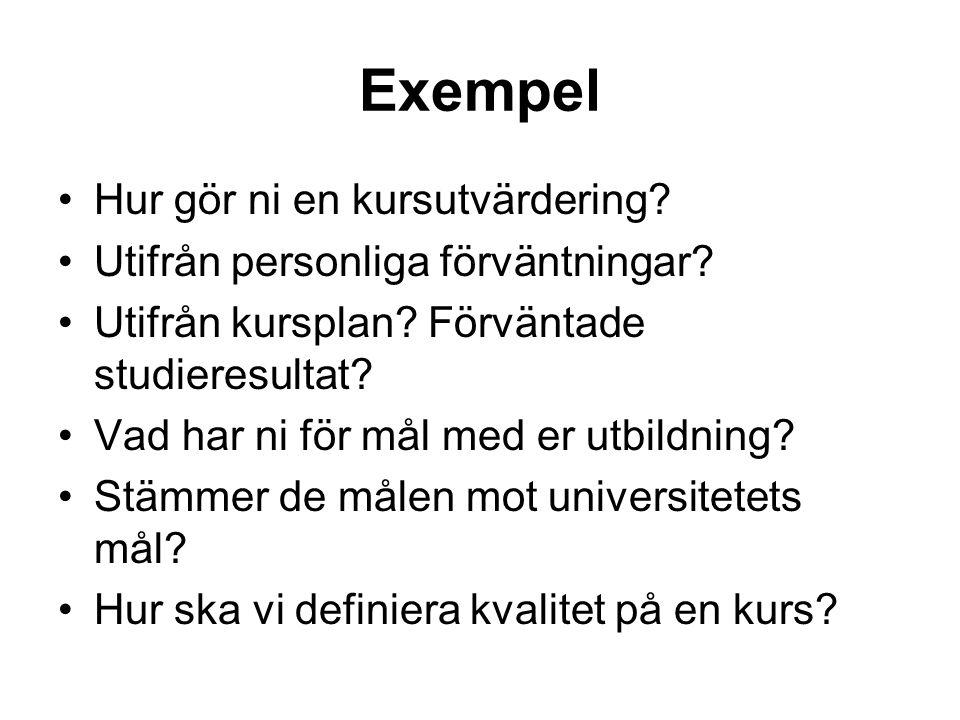 Exempel Hur gör ni en kursutvärdering. Utifrån personliga förväntningar.