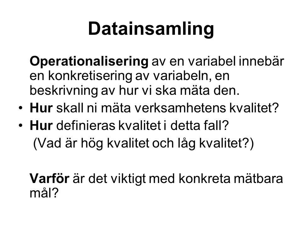 Datainsamling Operationalisering av en variabel innebär en konkretisering av variabeln, en beskrivning av hur vi ska mäta den.