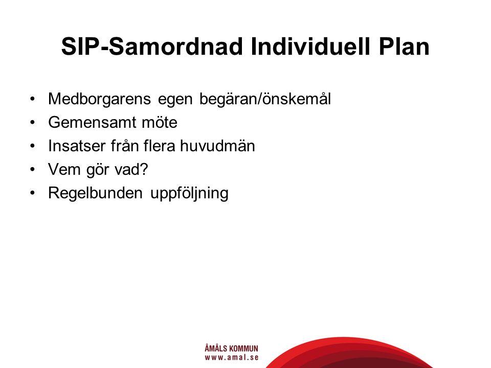 SIP-Samordnad Individuell Plan Medborgarens egen begäran/önskemål Gemensamt möte Insatser från flera huvudmän Vem gör vad? Regelbunden uppföljning