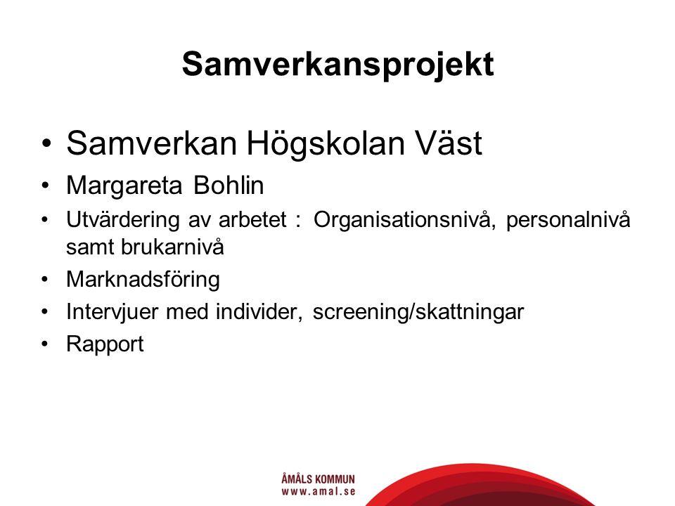Samverkansprojekt Samverkan Högskolan Väst Margareta Bohlin Utvärdering av arbetet : Organisationsnivå, personalnivå samt brukarnivå Marknadsföring Intervjuer med individer, screening/skattningar Rapport