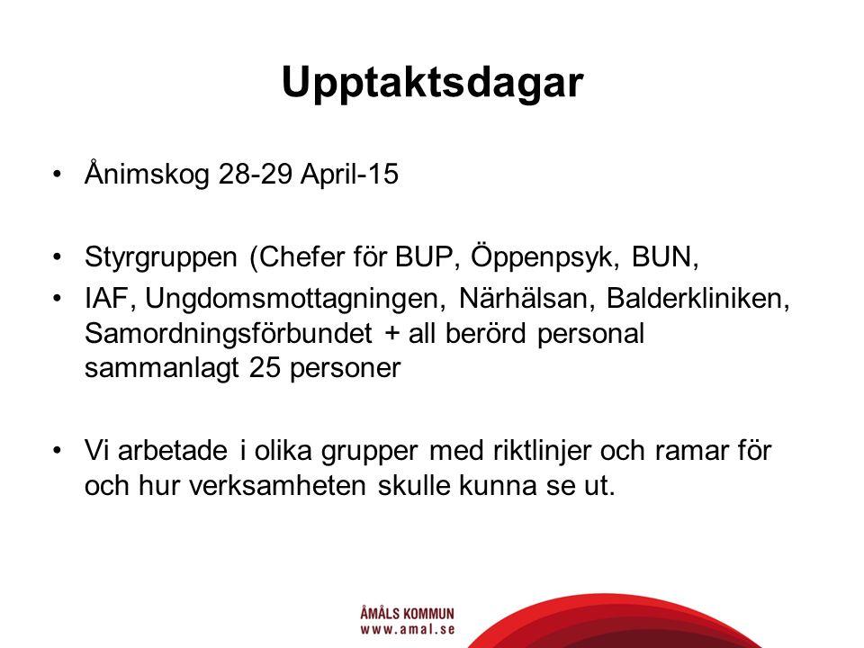 Upptaktsdagar Ånimskog 28-29 April-15 Styrgruppen (Chefer för BUP, Öppenpsyk, BUN, IAF, Ungdomsmottagningen, Närhälsan, Balderkliniken, Samordningsförbundet + all berörd personal sammanlagt 25 personer Vi arbetade i olika grupper med riktlinjer och ramar för och hur verksamheten skulle kunna se ut.