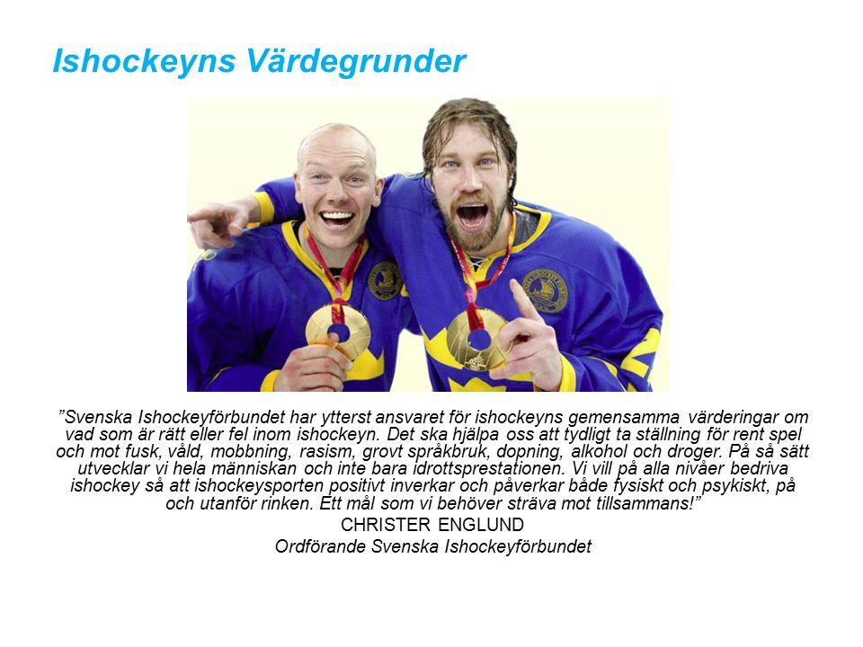 Ishockeyns Värdegrunder Svenska Ishockeyförbundet har ytterst ansvaret för ishockeyns gemensamma värderingar om vad som är rätt eller fel inom ishockeyn.