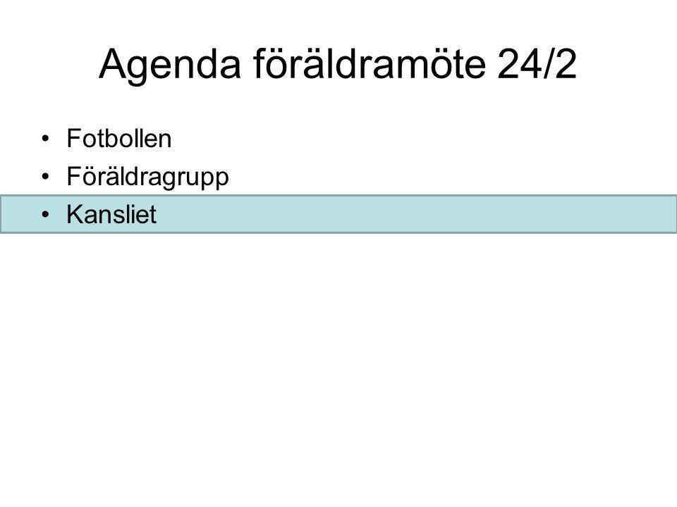 Agenda föräldramöte 24/2 Fotbollen Föräldragrupp Kansliet