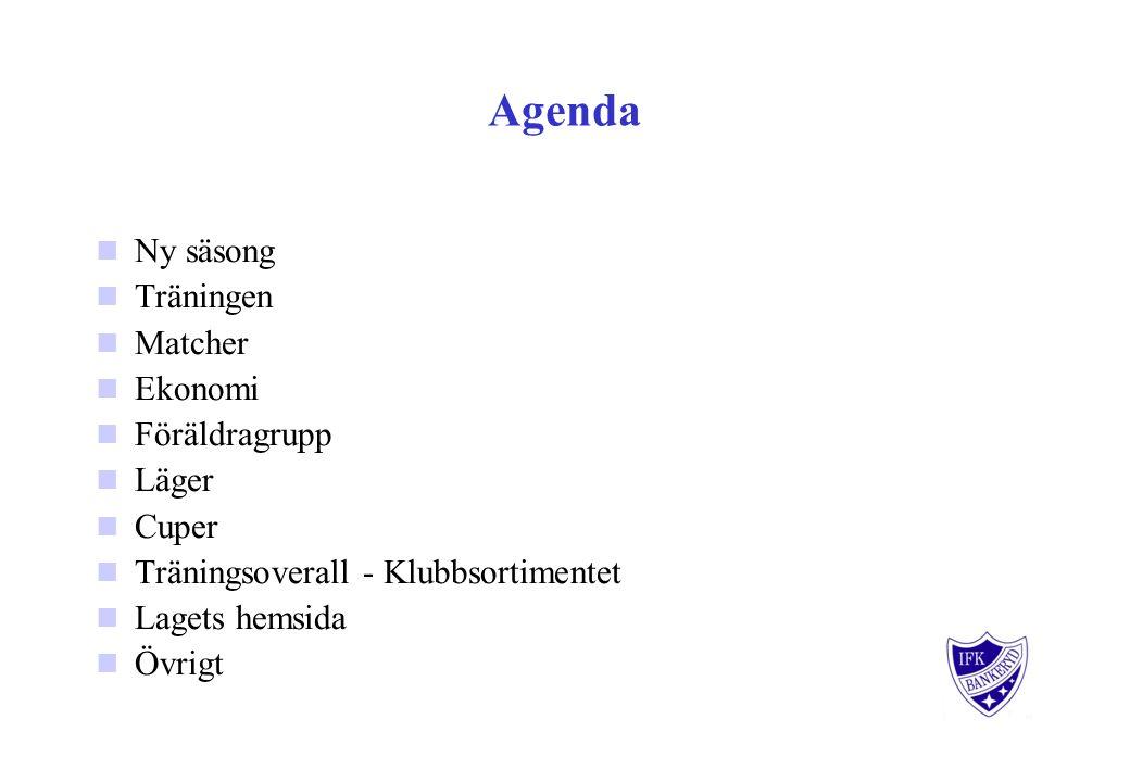 Agenda Ny säsong Träningen Matcher Ekonomi Föräldragrupp Läger Cuper Träningsoverall - Klubbsortimentet Lagets hemsida Övrigt