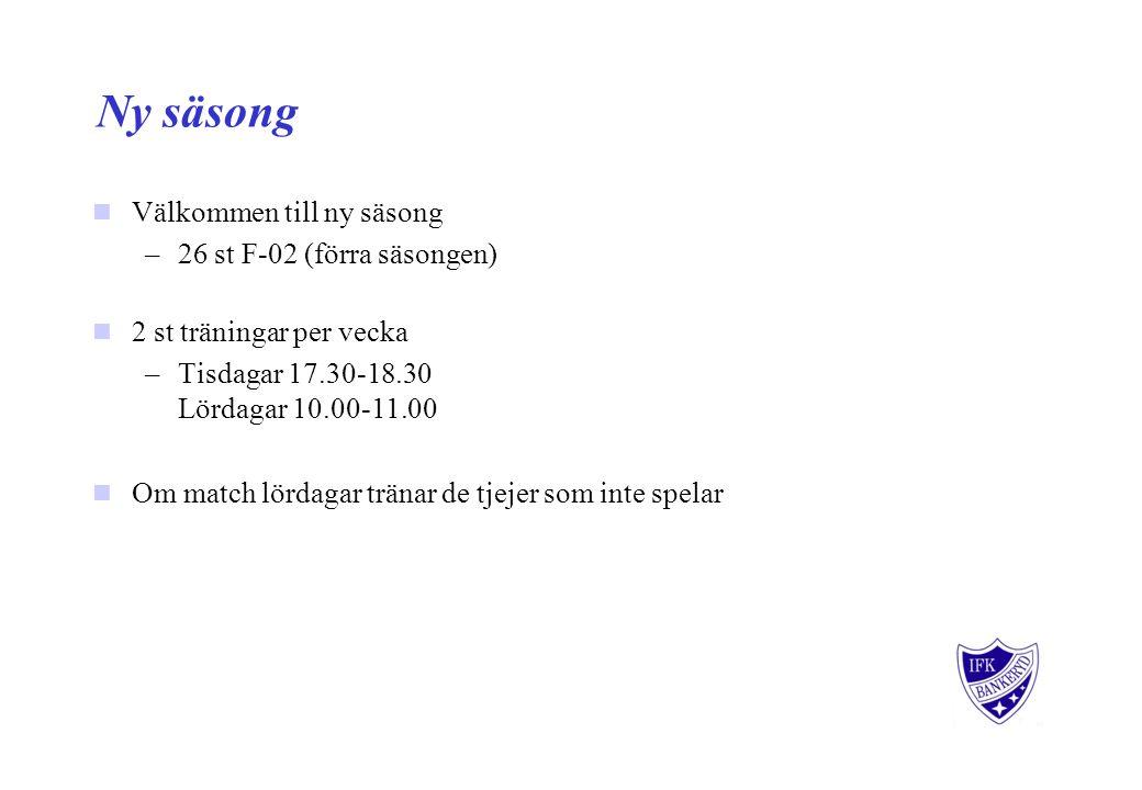 Ny säsong Välkommen till ny säsong –26 st F-02 (förra säsongen) 2 st träningar per vecka –Tisdagar 17.30-18.30 Lördagar 10.00-11.00 Om match lördagar tränar de tjejer som inte spelar