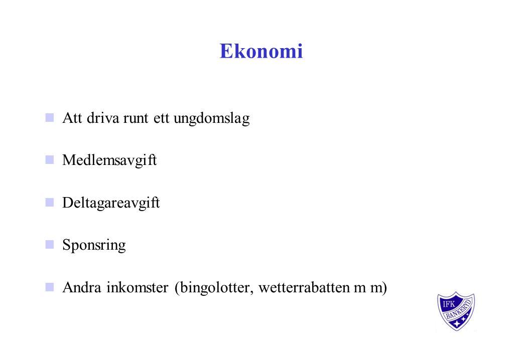 Ekonomi Att driva runt ett ungdomslag Medlemsavgift Deltagareavgift Sponsring Andra inkomster (bingolotter, wetterrabatten m m)