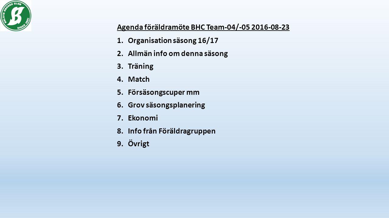 Agenda föräldramöte BHC Team-04/-05 2016-08-23 1.Organisation säsong 16/17 2.Allmän info om denna säsong 3.Träning 4.Match 5.Försäsongscuper mm 6.Grov säsongsplanering 7.Ekonomi 8.Info från Föräldragruppen 9.Övrigt