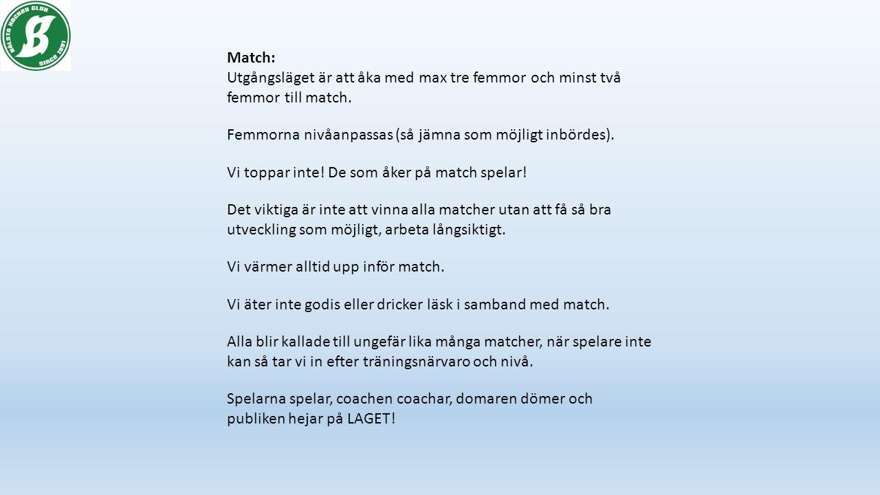 Match: Utgångsläget är att åka med max tre femmor och minst två femmor till match.
