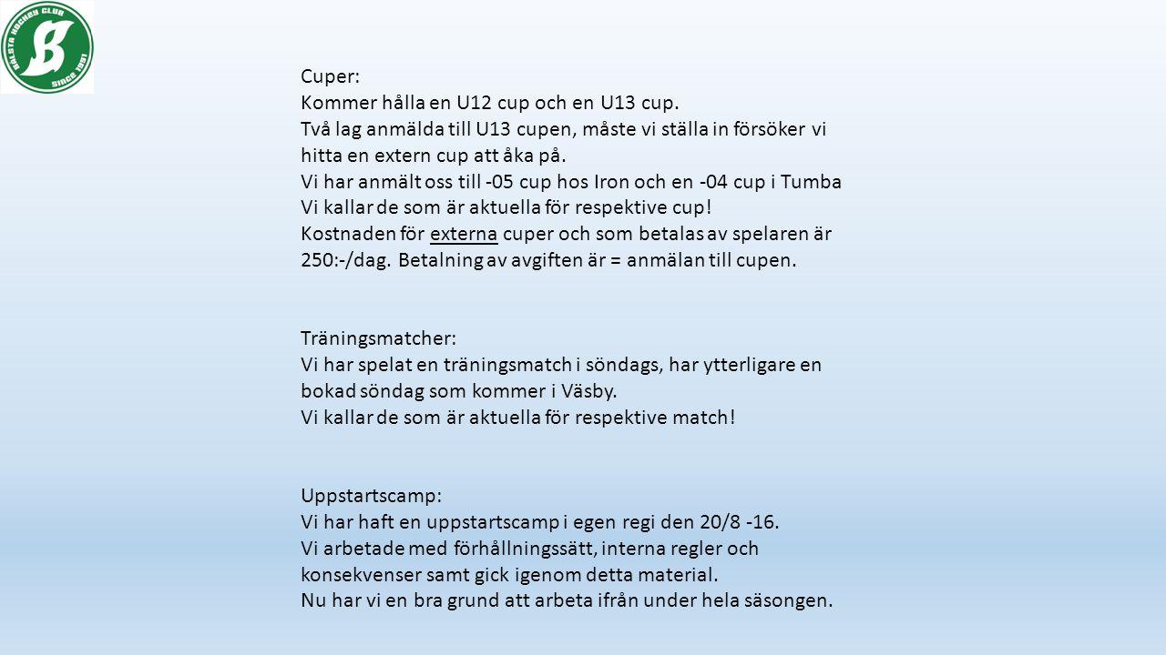 Cuper: Kommer hålla en U12 cup och en U13 cup.