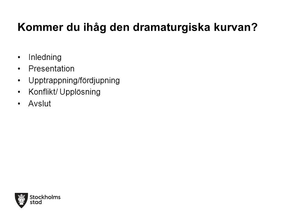 Kommer du ihåg den dramaturgiska kurvan? Inledning Presentation Upptrappning/fördjupning Konflikt/ Upplösning Avslut