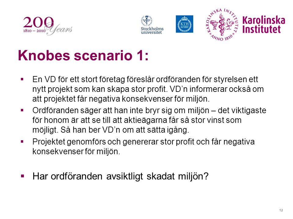 12 Knobes scenario 1:  En VD för ett stort företag föreslår ordföranden för styrelsen ett nytt projekt som kan skapa stor profit. VD'n informerar ock