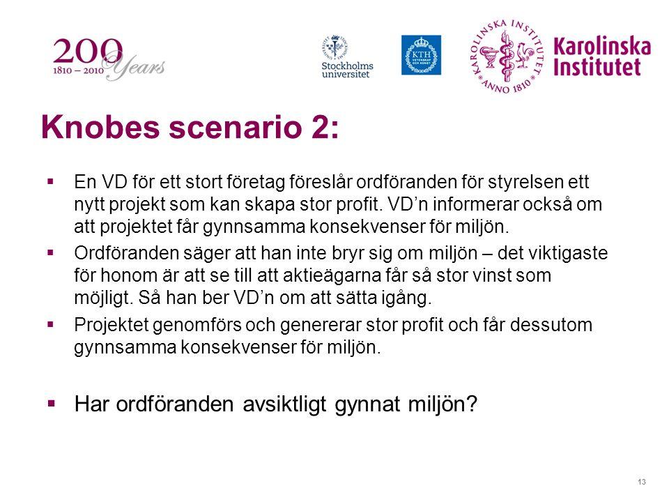 13 Knobes scenario 2:  En VD för ett stort företag föreslår ordföranden för styrelsen ett nytt projekt som kan skapa stor profit. VD'n informerar ock