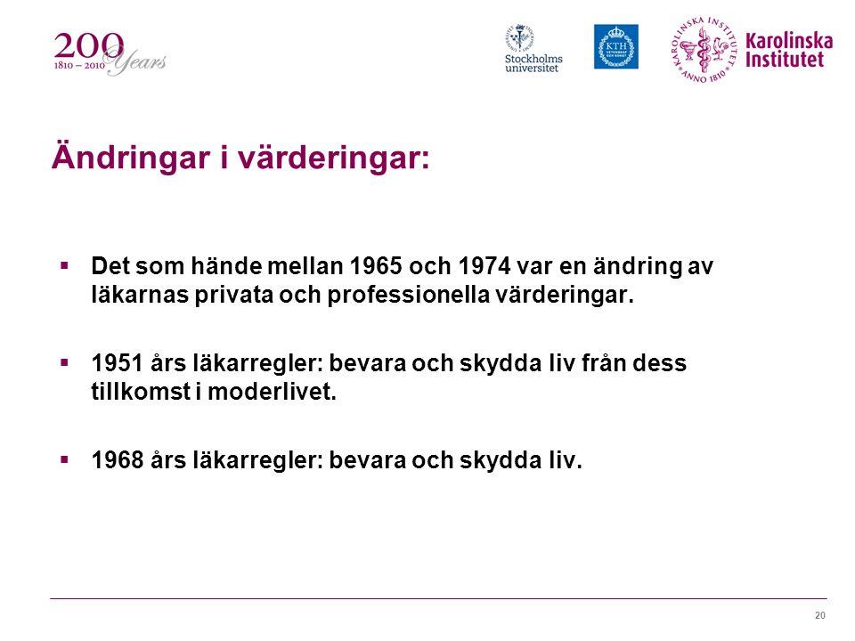 20 Ändringar i värderingar:  Det som hände mellan 1965 och 1974 var en ändring av läkarnas privata och professionella värderingar.  1951 års läkarre