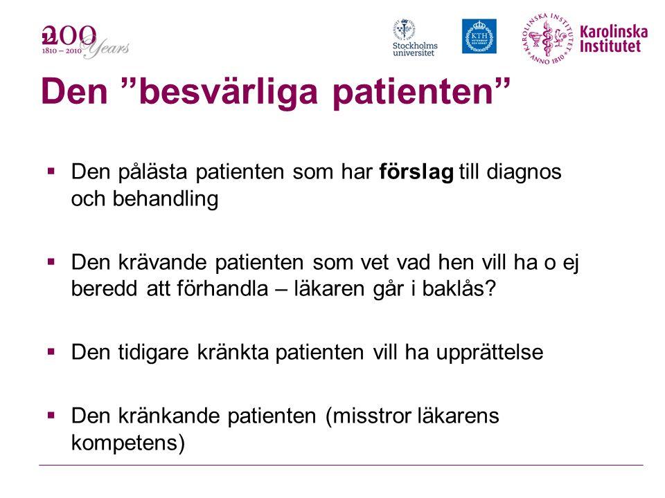""""""" Den """"besvärliga patienten""""  Den pålästa patienten som har förslag till diagnos och behandling  Den krävande patienten som vet vad hen vill ha o ej"""