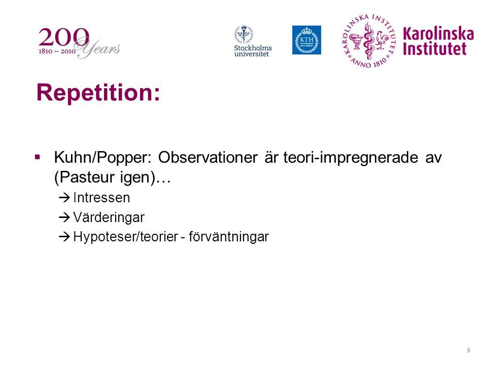 5 Repetition:  Kuhn/Popper: Observationer är teori-impregnerade av (Pasteur igen)…  Intressen  Värderingar  Hypoteser/teorier - förväntningar