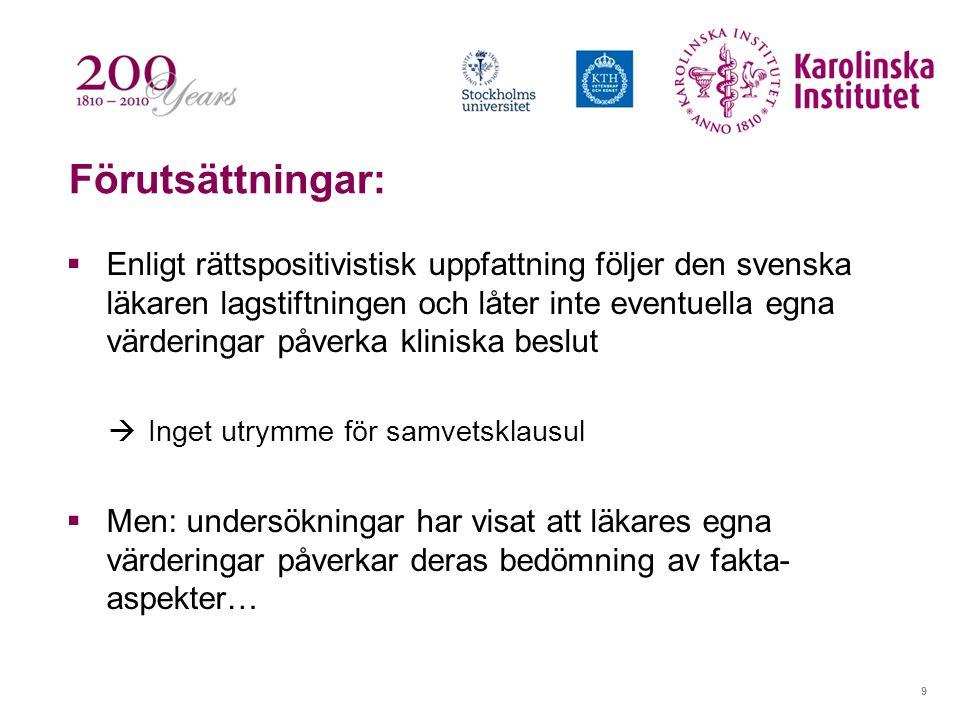 9 Förutsättningar:  Enligt rättspositivistisk uppfattning följer den svenska läkaren lagstiftningen och låter inte eventuella egna värderingar påverk