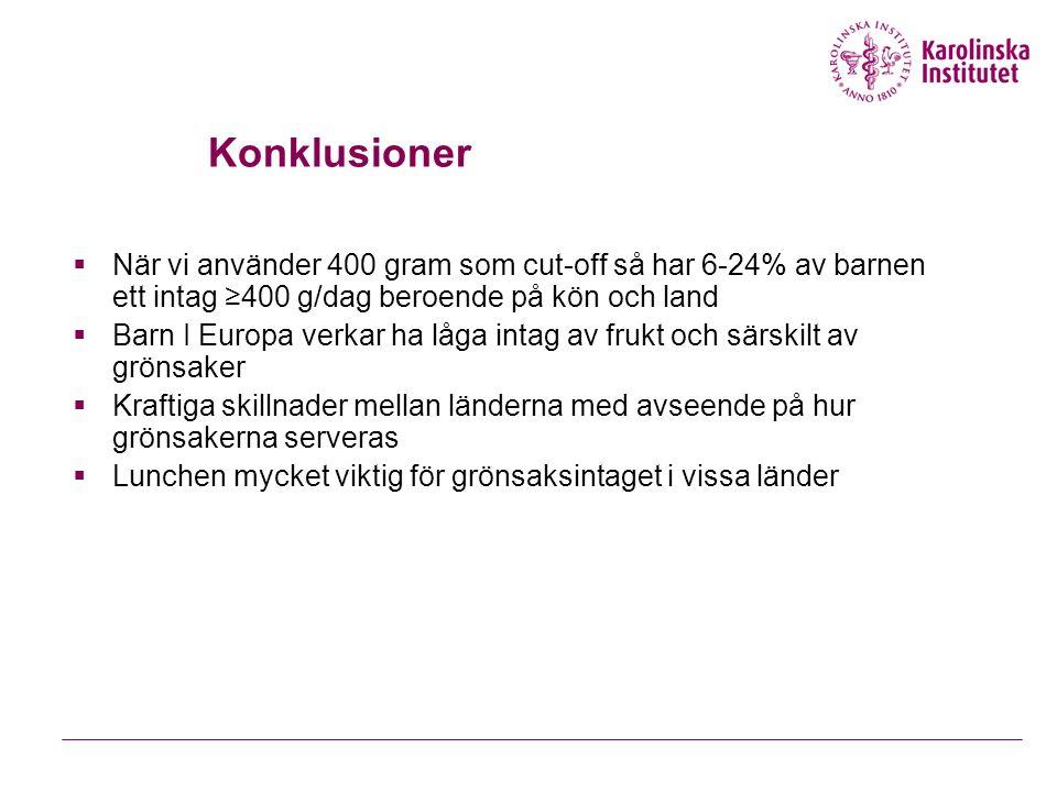 Konklusioner  När vi använder 400 gram som cut-off så har 6-24% av barnen ett intag ≥400 g/dag beroende på kön och land  Barn I Europa verkar ha låg